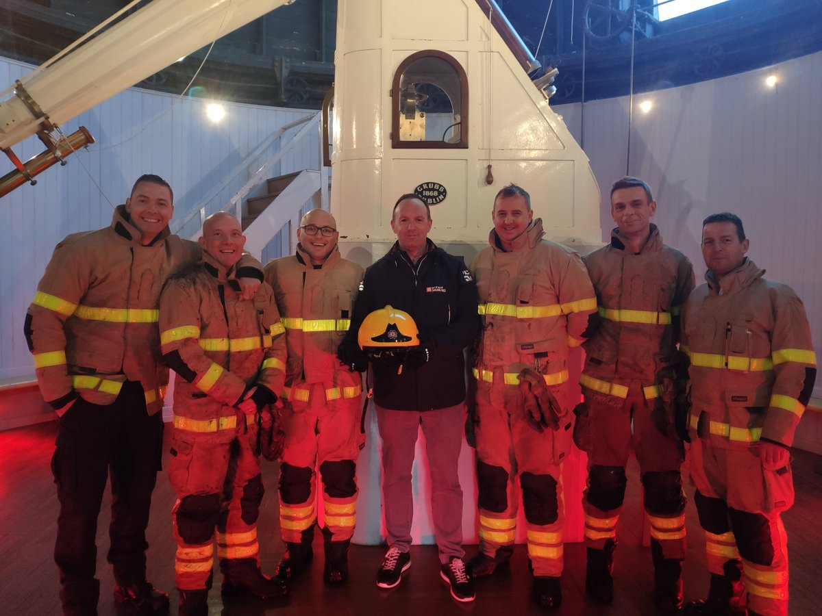 test Twitter Media - Thanks to @dubfire for their hasty response and saving tonight's open evening. Here they are checking out the telescope with @petertgallagher after all their hard work! 🔥🚒 https://t.co/CyDNkqPVEk