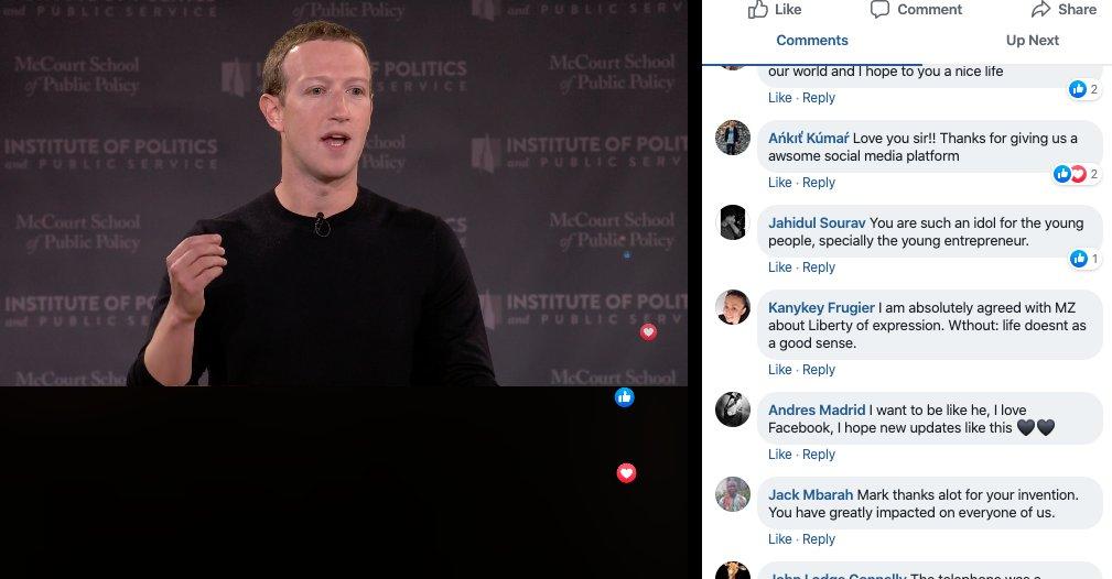 On Facebook's live stream, Zuckerberg's free-speech lecture got a big thumbs up