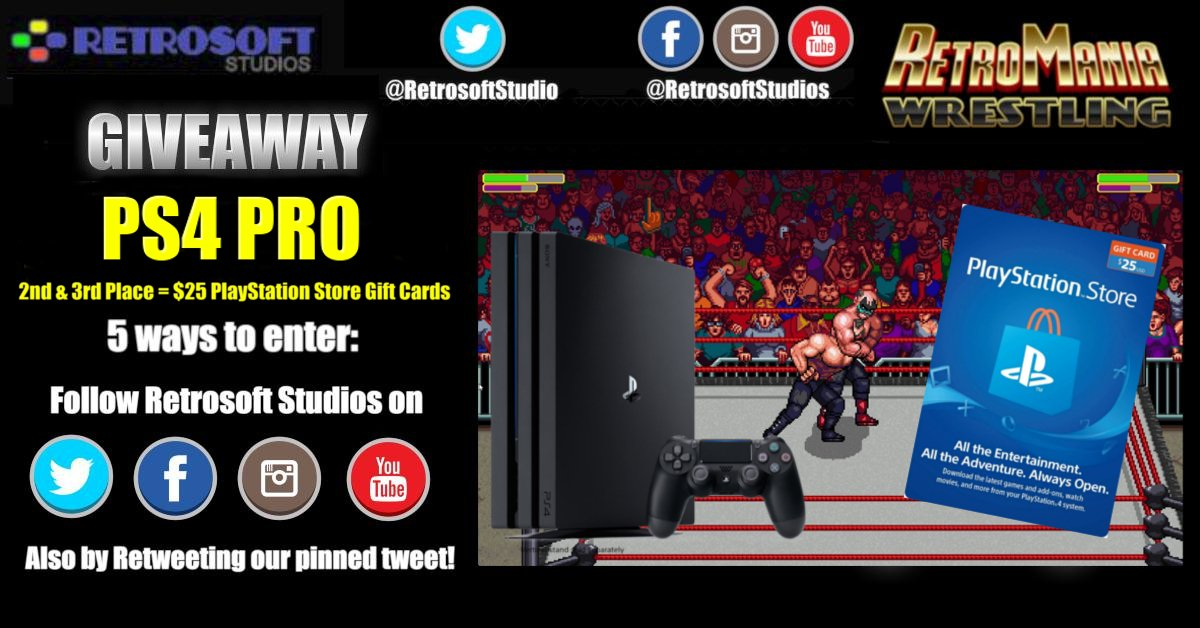 RetroMania Wrestling is officially coming to the @PlayStation 4, so we're giving away a #PS4 Pro along with some #PlayStation Store Gift Cards!  There are several easy ways to enter: ▪️ Retweet this ▪️ Follow us on social media ▪️ Respond to this by tagging 3 friends  Good Luck! https://t.co/YEAj3QvFFB