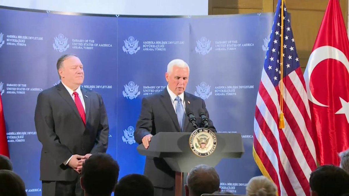 .@VP: Today, the United States and Turkey have agreed to a ceasefire in Syria.