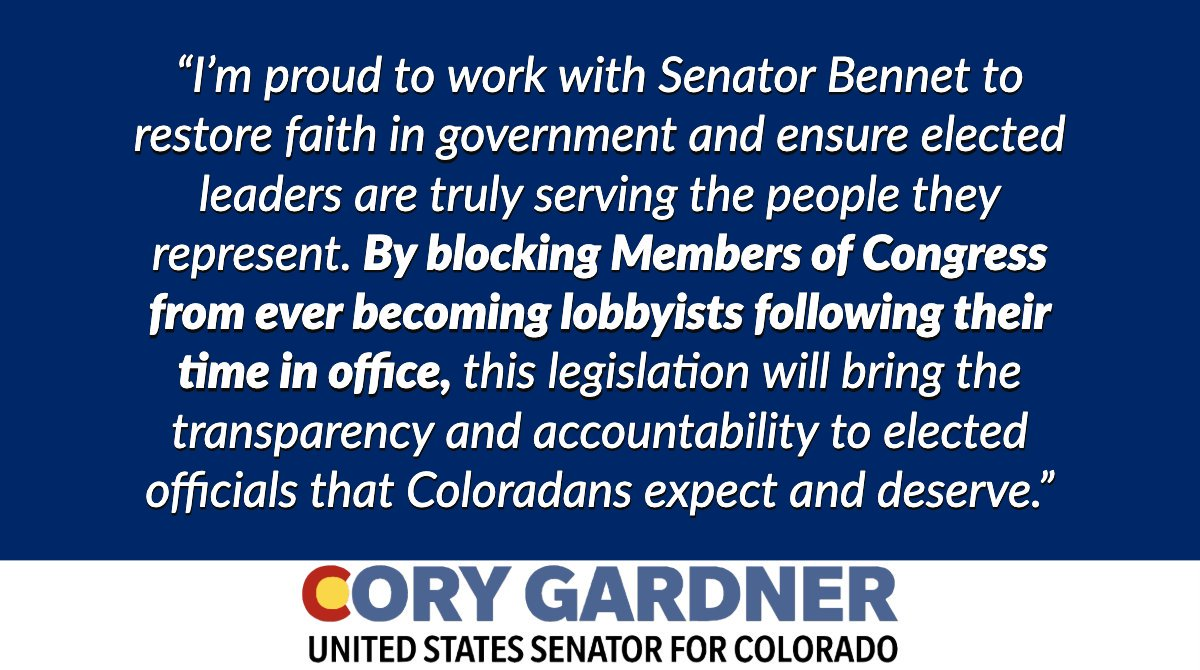 Today @SenatorBennet, @SenatorTester, and I reintroduced the Close the Revolving Door Act, a bill to ban Members of Congress from ever becoming lobbyists. Read my full statement ⬇️