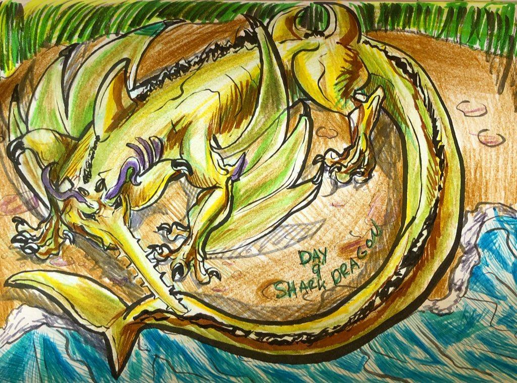 Moxinktober day 9! Theme is Shark Dragon so here's a Sawfish dragon, a good swamp boy. #inktober #inktoberday9