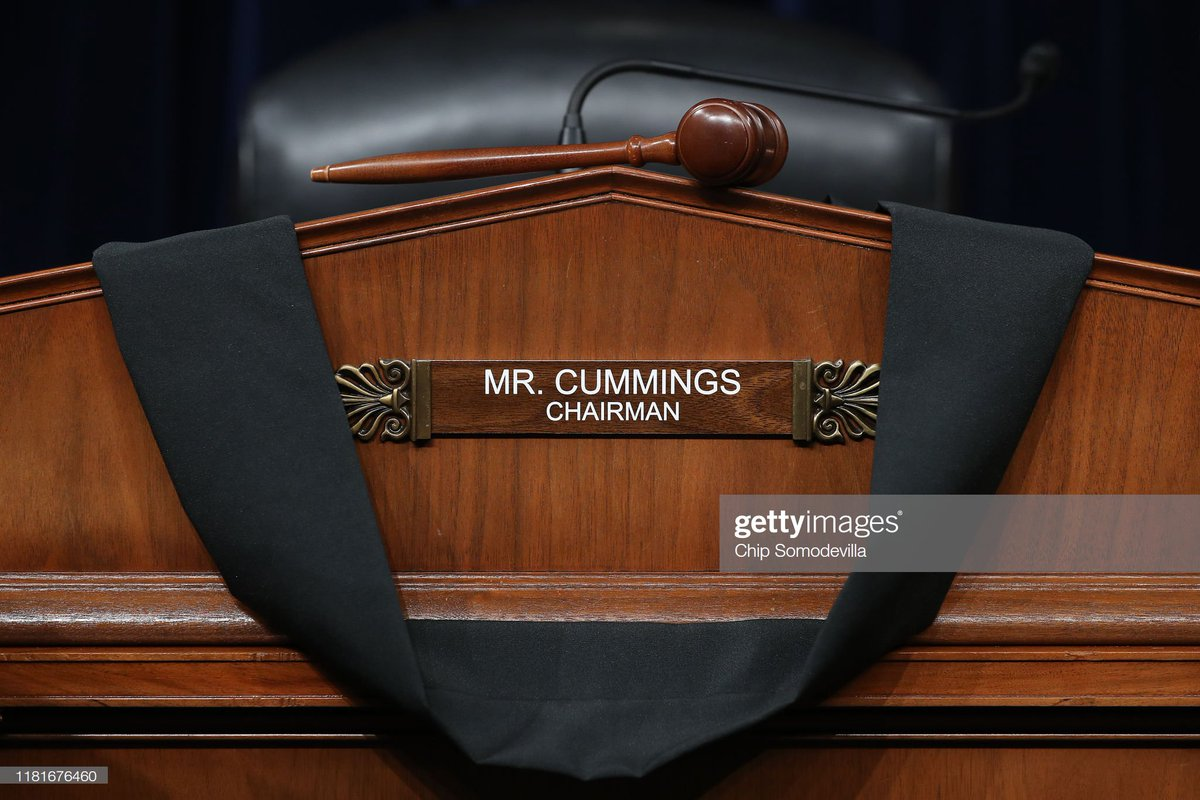 Black bunting is hung over the desk where House Oversight and Government Reform Committee Chairman #ElijahCummings sat during hearings in the Rayburn House Office Building on Capitol Hill. Cummings passed away this morning at the age of 68 📷: @somogettynews