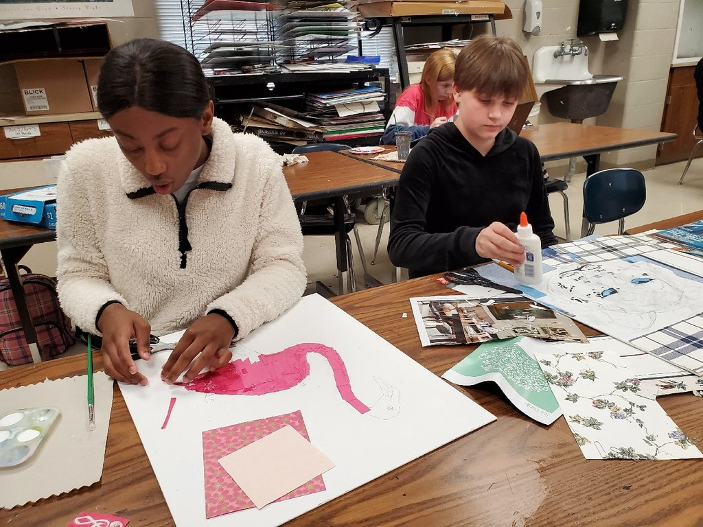 SCHS Art 2 students are creating animal collages. #WhateverItTakes #schs