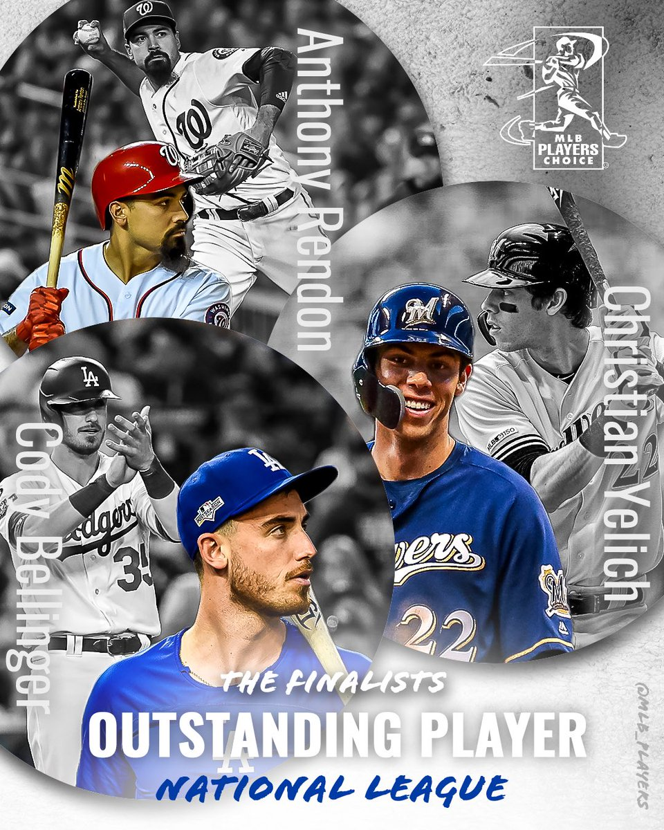 The National League #MLBPlayers have voted for the guys whose game they respected the most in 2019! Your 2019 Players Choice Awards NL Outstanding Player finalists are #AnthonyRendon, @ChristianYelich & @Cody_Bellinger! #PlayersChoiceAwards2019 winners announced next week!