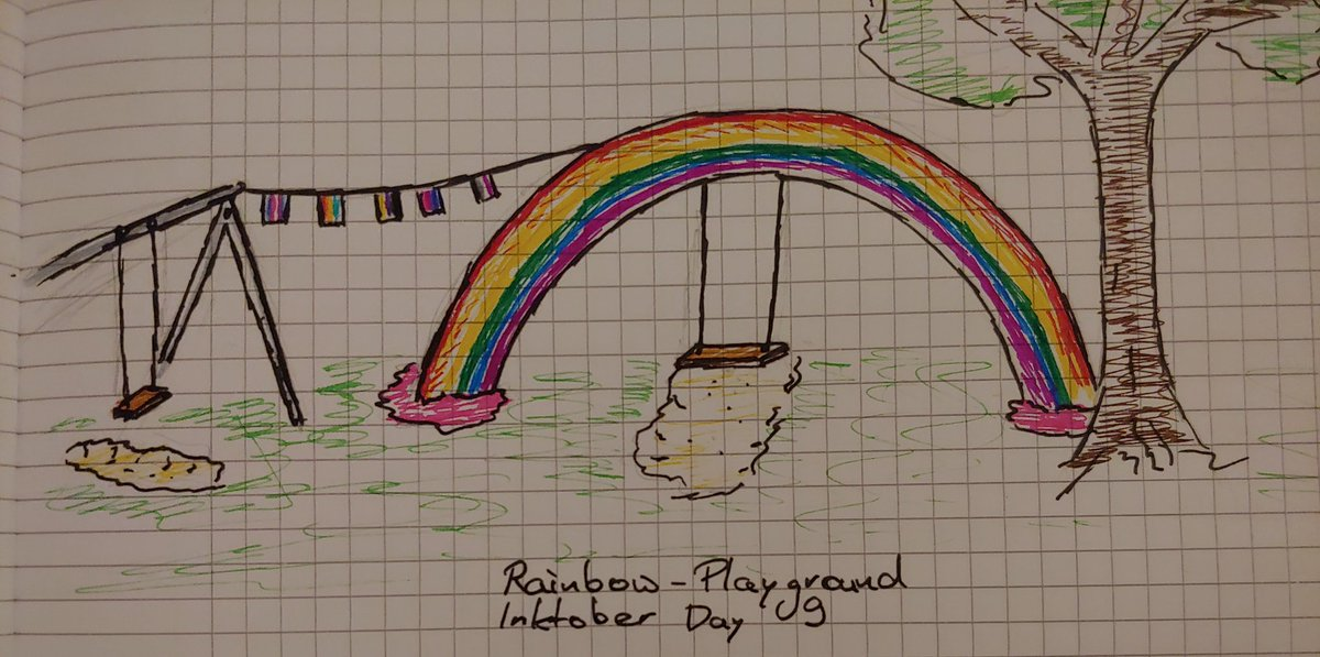 Well this definitely took a while. After me being sick for about a week. I present to you #Inktoberday9 #rainbow #swing, before I get the next coughing fit#inktober2019 #catchup #pride