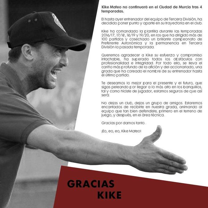 Kike Mateo, en su despedida como técnico del CAP Ciudad de Murcia.