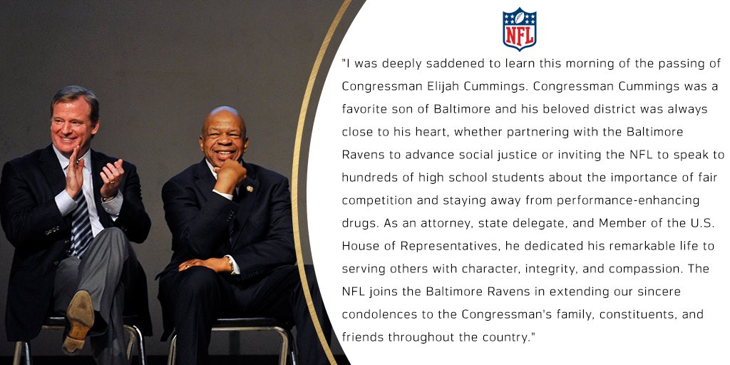 When Congressman Cummings and I first met more than a decade ago, we quickly developed a relationship of mutual respect and trust. I join the country in mourning his passing.