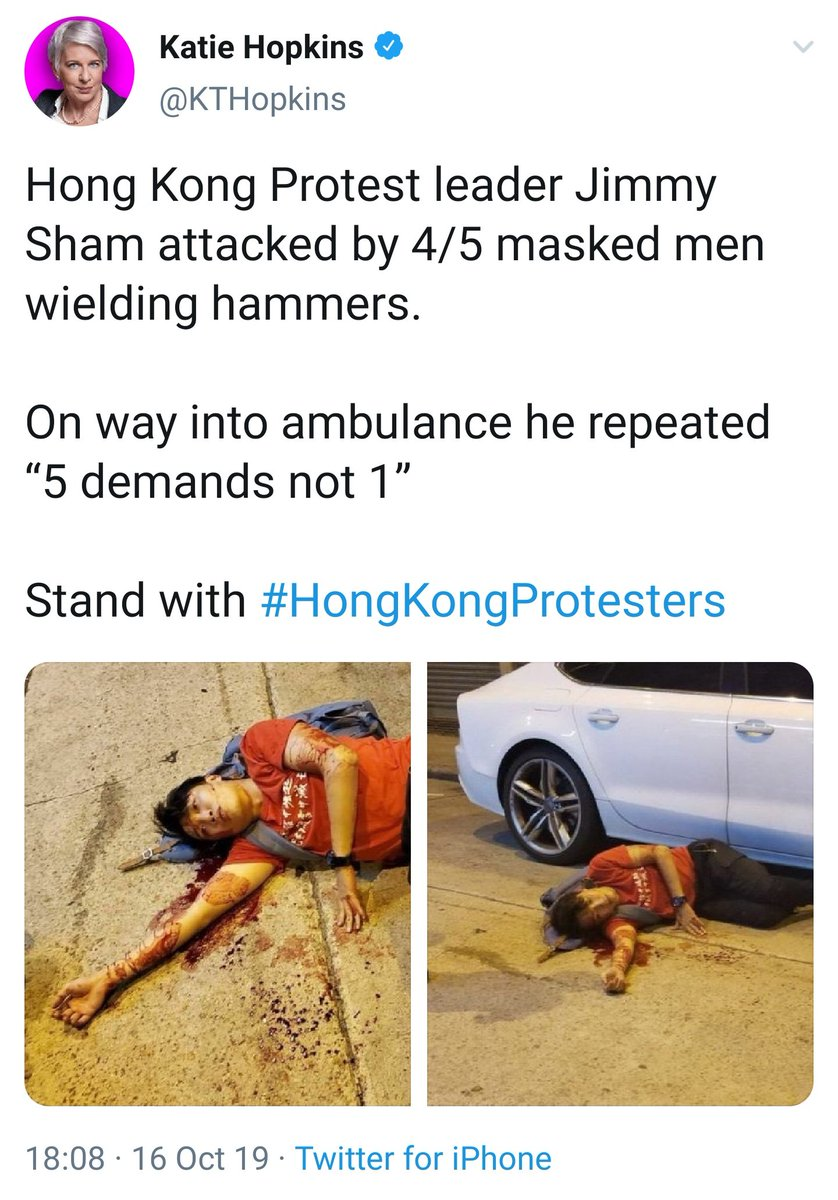 Katie Hopkins is a UK columnist and political commentator She is a vile racist, transphobe, and all-round bigot She has been posting pro-Hong Kong tweets recently - beware, she is only working for herself, not you #小心炒車 #外國何X堯