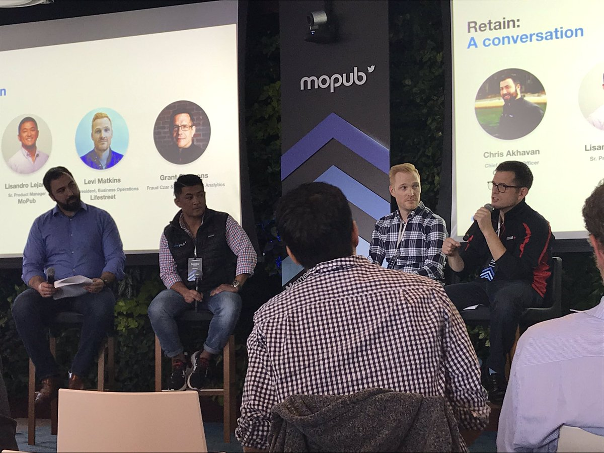 .@glumobile's  @chrisqa  leads a conversation around fraud, and how we can collectively clean it up across the ecosystem, joined on stage by @l_lejano , @LifeStreetMedia  and @kochavamobile  at #Momentum2019 :