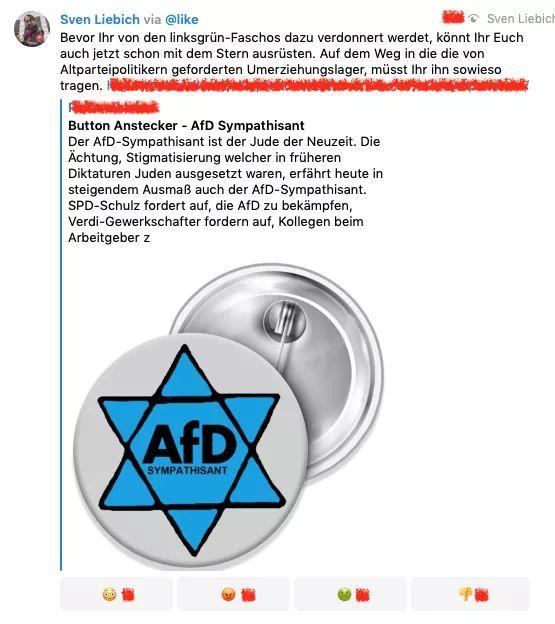 Sven #Liebich ... Blaufaschistischer Rechtsextremist aus #Halle ... Und offensichtlich tief arg pervertierter, verpeilter #AfD - FanBoy! 🤮🤮🤮#FCKAfD #NoAfD #FCKNZS #NoNAZIS #NazisRaus #NoPEGIDA #NoH8 #LTW19 #LTWTH19 #Halle #Halle0910