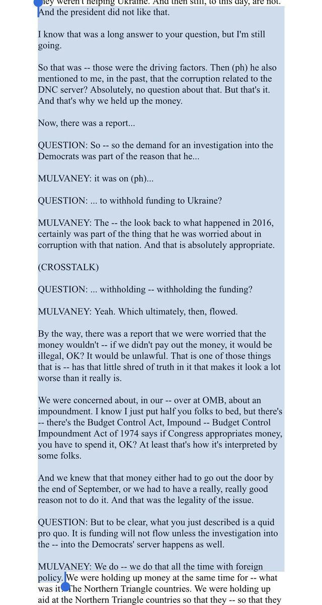 "And in case there's any doubt about what Mulvaney said - here's a relevant part of the briefing. ""That's why we held up the money."""