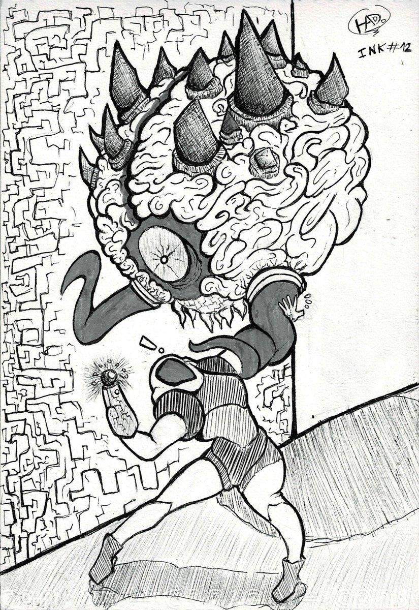 Aca te van otras dos Condorito...Ink #12 Mother Brain (Metroid)Porque está cosa luce tan diferente en Metroid Fusión??Ink #13 Space InvadersYo era más de Pitfall, sorry.#Inktober #Inktoberday9  #inktoberday10 #Inktober2019