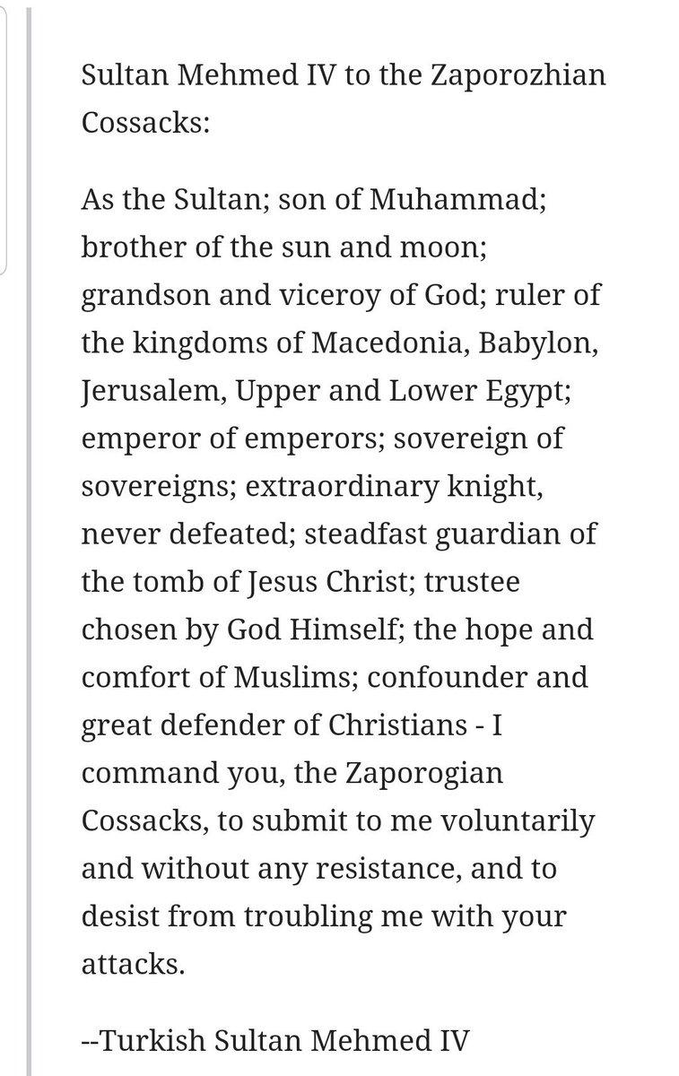 @bradleyrsimpson @ScottAdamsSays @PeterAlexander   @bradleyrsimpson let me take u back to where @nntaleb took me!  Letter from #Ottoman (#Turkey) Ruler to #Cossacks (#Ukraine)!  & reply from the Cossacks.  Lets just say Erdogan took the high road!  @MZHemingway @IngrahamAngle @TuckerCarlson #MAGA