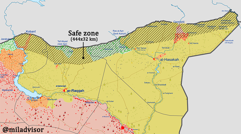 """US and Turkey reach an agreement to suspend military operation in Syria against the Kurds. -YPG leaving heavy weapons and withdraw its troops from the """"safe zone"""",444km wide,32km deep. -Turkish side will pause 120 hours to allow Kurdish fighters to withdraw from the safe-zone."""