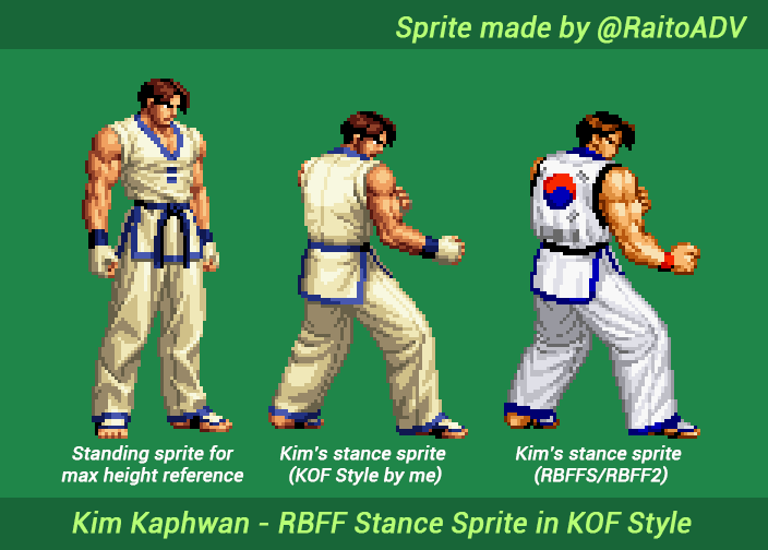 raitoadv commissions open 3 on twitter i made this sprite of kim kaphwan s real bout stance in kof style i really wished snk made an official one back then because it raitoadv commissions open 3 on