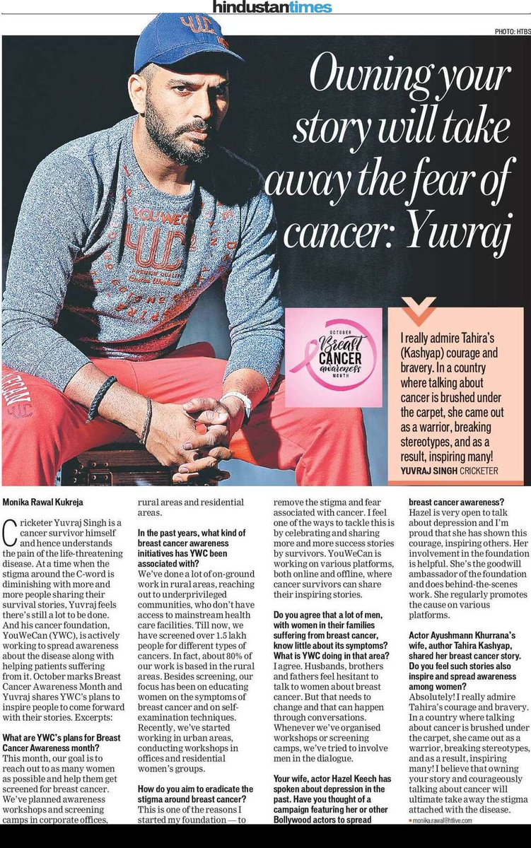 He has never shied away from talking about the C-word or the work his cancer foundation YouWeCan does. In this chat, @YUVSTRONG12 talks about spreading more awareness, wife @hazelkeech's involvement,and applauds @tahira_k's courage to share her story.#BreastCancerAwarenessMonth