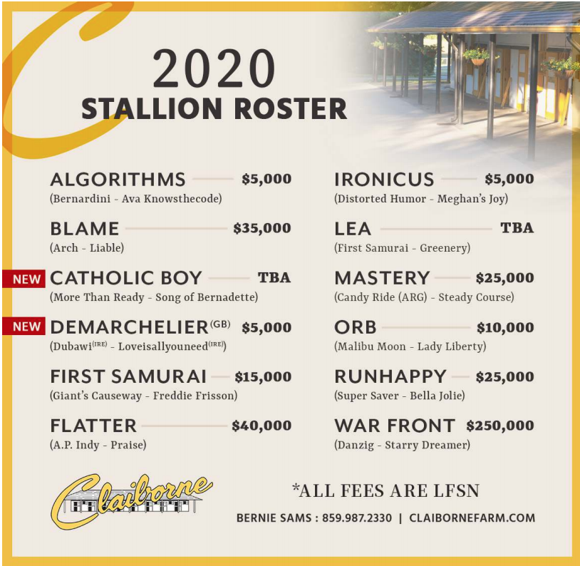 Claiborne Farm 2020 Asım ücretleri