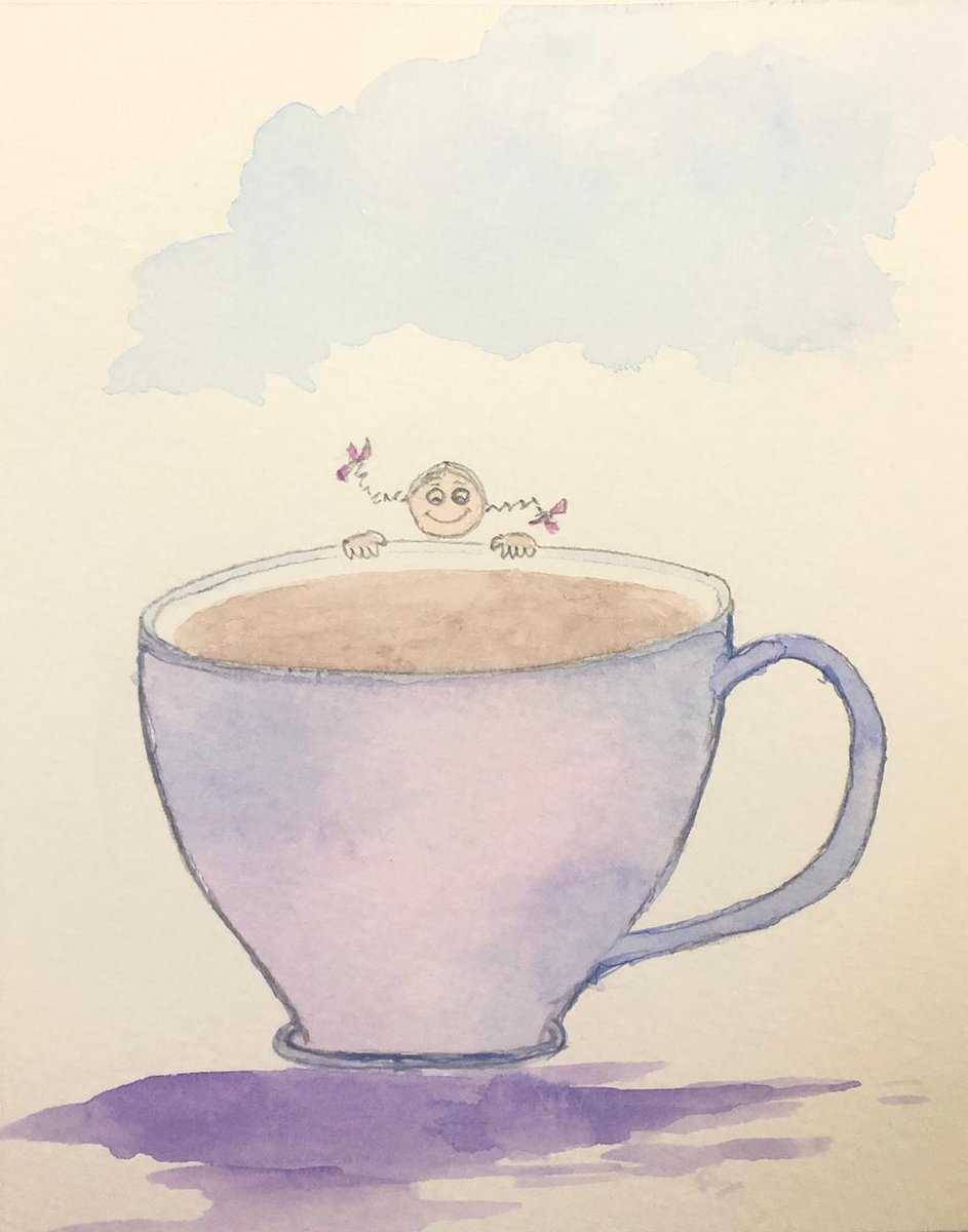 Have some tea ;  and a good day :))  #tea  #cup  #morning  #day  #watercolour