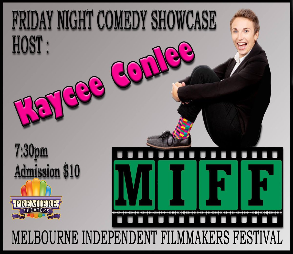 Friday night, Oct 18th, is full of laughs as comedian @kayceefosho  #KayceeConlee  emcees MIFF's Comedy Showcase. Kaycee kicks off the show with her comedy best before hosting a series of humorous short films #comedy  #miff2019  #melbourneindependentfilmmakersfestival
