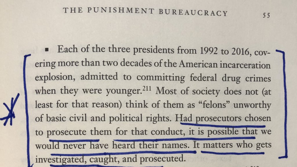 """Each of the 3 presidents from 1992-2016, admitted to committing federal drug crimes when younger. Had prosecutors chosen to prosecute them for that conduct, it is possible that we would never have heard their names. It matters who gets investigated, caught, & prosecuted."""