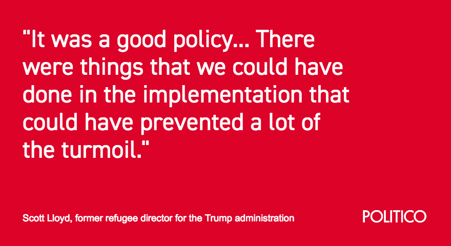 """NEW: Scott Lloyd, who led the HHS refugee office that took custody of thousands of migrant children separated at the border, tells POLITICO that separating families was a """"good policy."""""""