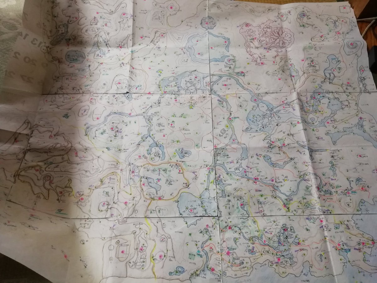何が起きてるのかさっぱりだと思うんだけど、母が作ってたゼルダの伝説BoWの地図(手書き)です。コログと、ヒノックス、イワロック、ライネル、鍋、祠、アイテムその他諸々書き込まれた悪魔の産物。全部徒歩で見つけてるんだぜ。伊能忠敬もびっくりだわ。