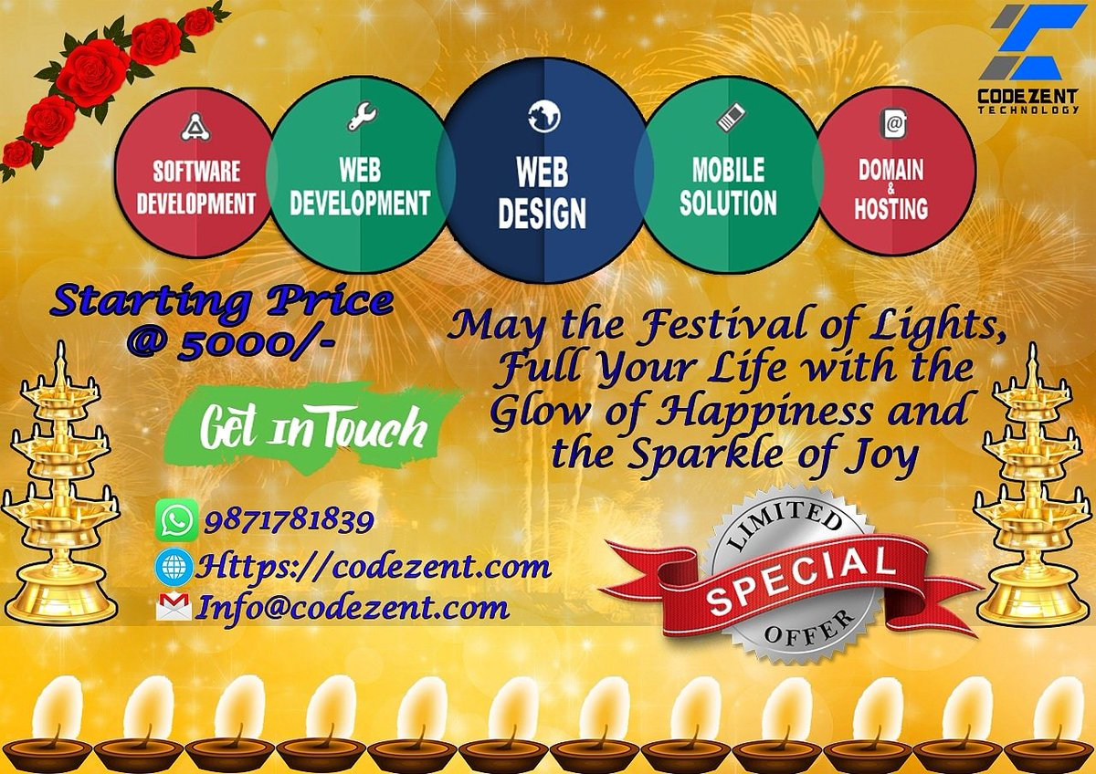 Happy Diwali to All in Advance Today started new offers. Starting very low price if any buddy interested so contact. #CustomerServiceWeek #HingaDingaDurgen #ColumbusDay2019 #codezent#softwaredevelopment #Website #MobileApp #marketing