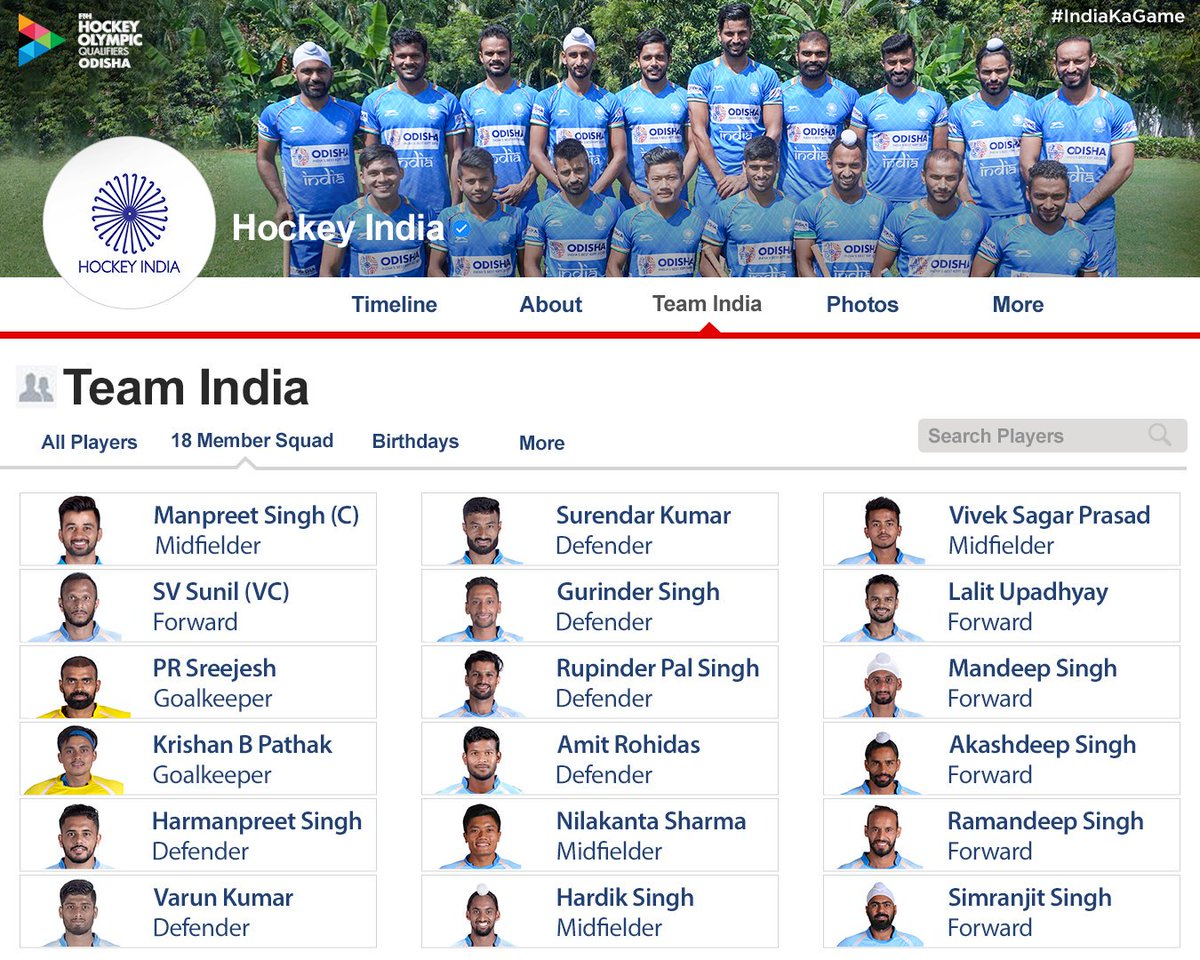 The coolest friends list you'll ever come across!   A look at the 18-Member Indian Men's Hockey Team that will face Team Russia in the @FIH_Hockey Olympic Qualifiers Odisha at the Kalinga Stadium!   #IndiaKaGame #RoadToTokyo #Tokyo2020 #GiftOfHockey #KalingaKalling<br>http://pic.twitter.com/Cms1abcXSD