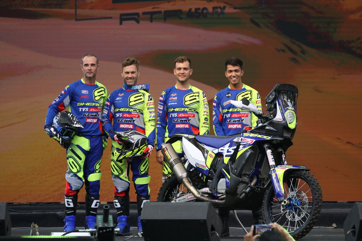 Here they are!!  @ShercoRacing @TVS_Racing's 2020 Dakar squad  Michael Metge, Lorenzo Santolino, Johnny Aubert with India's Harith Noah stepping in -- in place of Aravind KP! #Dakar2020 <br>http://pic.twitter.com/Hg7rFWc24T