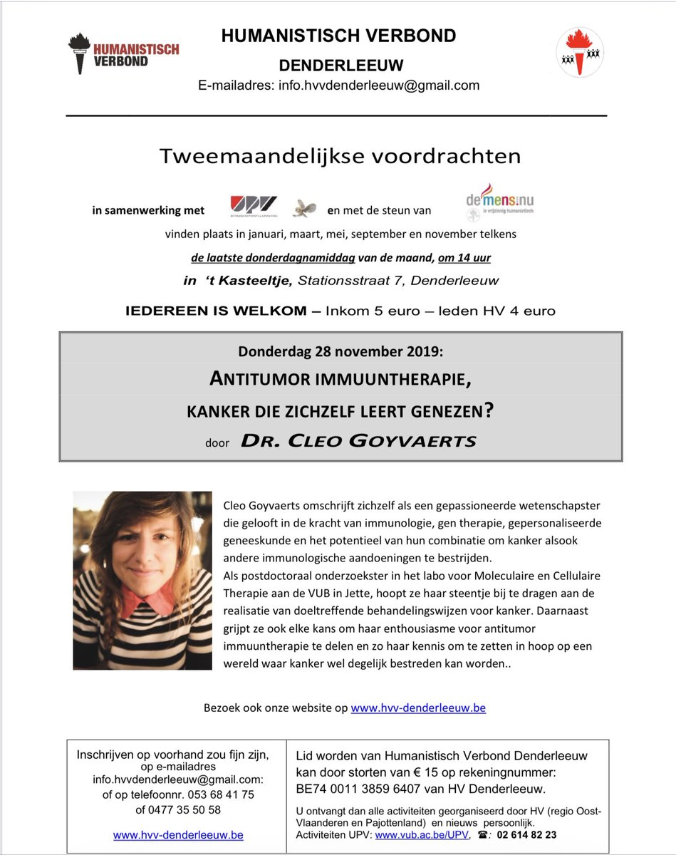 """Voordracht in Denderleeuw, """"immuuntherapie"""" #kanker , noteer alvast de datum, iedereen welkom.@UPVvzw @UZBrussel @HVVAalst @deMensnu @HVVZottegem"""