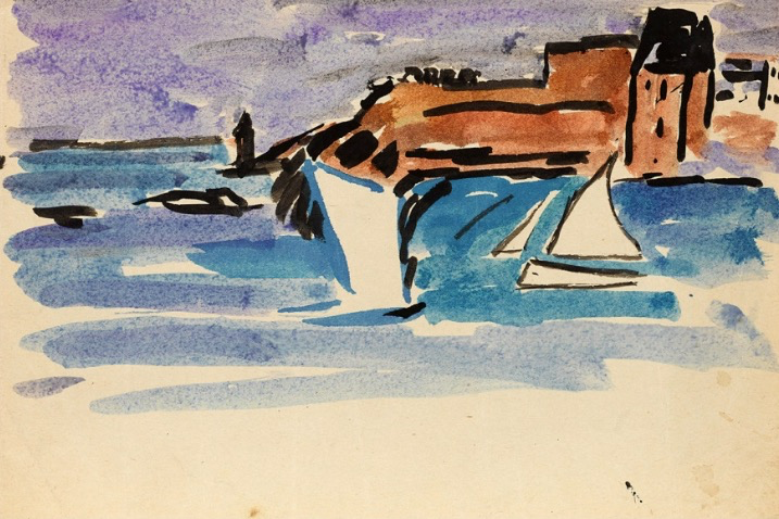 May Guinness (1863-1955) Harbour Scene, circa 1940, watercolour.  Born in Dublin, she studied with Mildred Anne Butler in Cornwall and later in Paris where she joined the French army as a nurse receiving the Croix de Guerre in 1915. She was associated with the Ecole de Paris.pic.twitter.com/9hJO6A4iXt