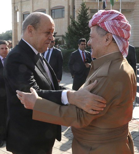 I had a constructive meeting with @JY_LeDrian today at the Barzani HQ. The Foreign Minister and I discussed the recent events in Syria and spoke of the crucial role of the Kurds in defeating the threat of the terrorists of the Islamic State and how that fact cannot be ignored.