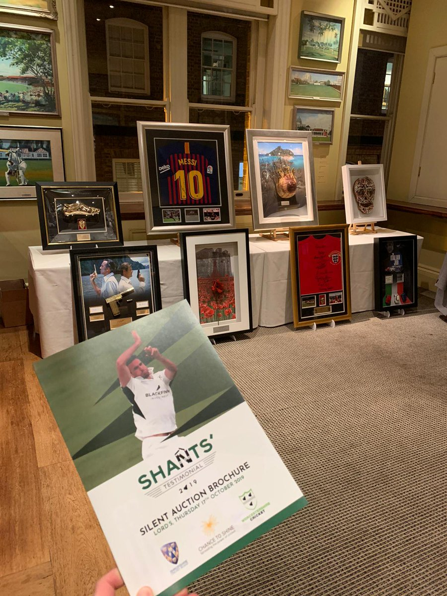 Our bespoke memoribilia was on display last night at the Shants Testimonial Dinner 2019 at @HomeOfCricket #fundraising #silentauction #lords