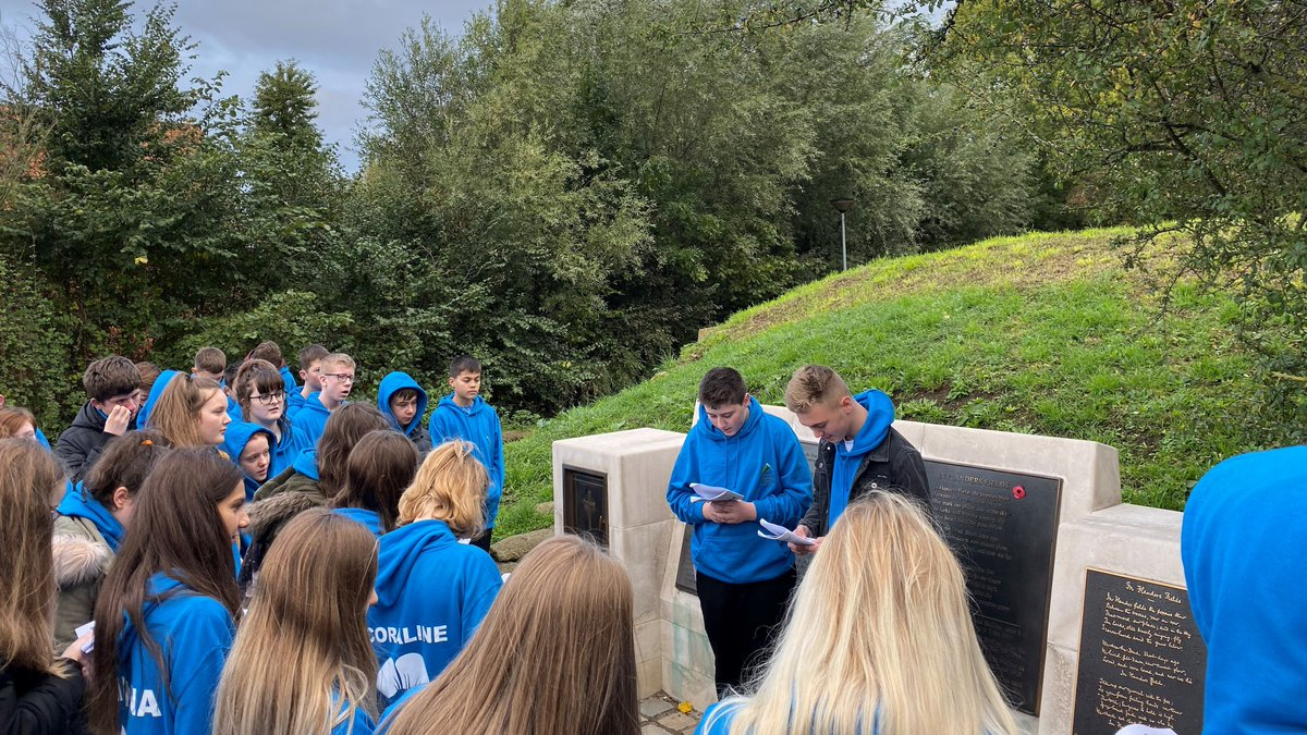 Next stop today was Essex Farm Cemetery where students read the famous poem 'In Flanders Fields' and learned more about medical treatment during the First World War. #InFlandersFields