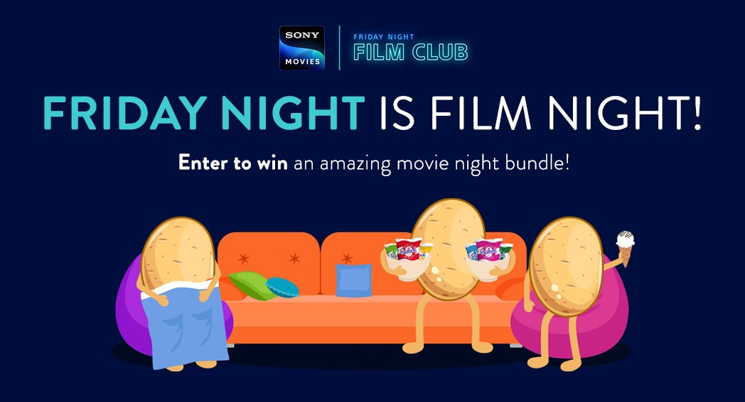 Friday night is film night! To celebrate Sony Movies' 9pm Friday Night Film Club, we are giving you the chance to revamp your Friday night! Enter our competition for the chance to win an amazing movie night bundle plus a box of crisps ow.ly/DUdQ50wHoaV T&Cs apply