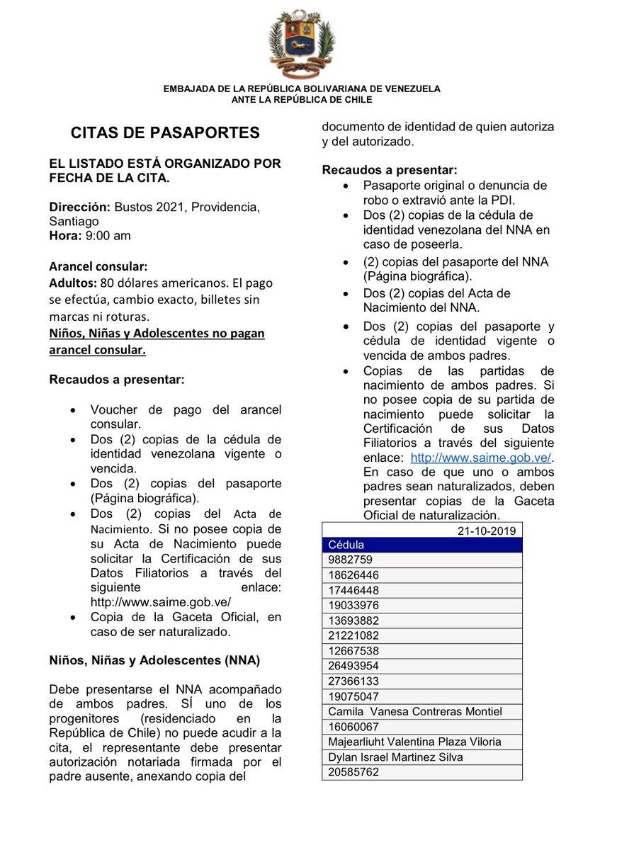 Embajada De Venezuela En Chile On Twitter Atencion Citas