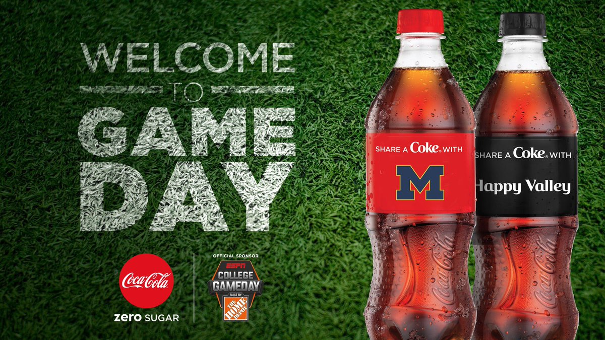 Its game time! Im working with @CocaCola to keep your Saturday full of the things you love... like coming out to @CollegeGameDay to #ShareaCoke with us in Section Zero #AD