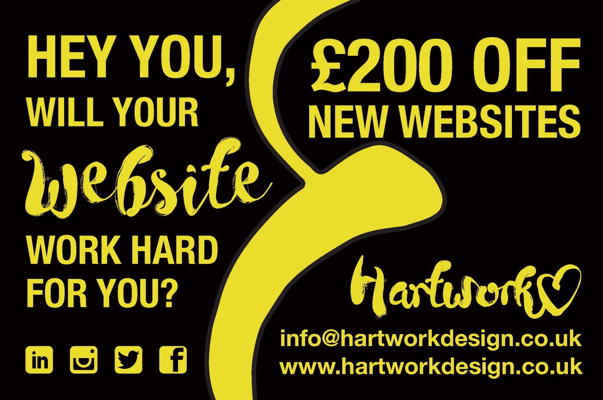HUGE DEAL!!!! £200 off all new WEBSITES!! Contact us on info@hartworkdesign.co.uk using code: Website200 ~~~#website #deals #discount #competition #etsy #essex #romford #bni #networking #makeup #hairsalon #essexdesign #art #london #coleenvsrebekah #BusinessNews