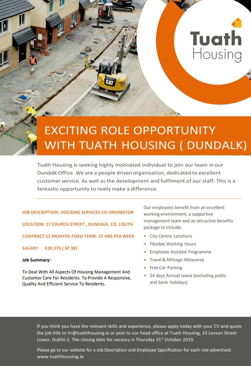 Tuath Housing On Twitter Our Dundalk Team Is Growing We Are Looking For A Housing Services Co Ordinator For Our Dundalk Office If You Are Interested In The Role Please Click On The