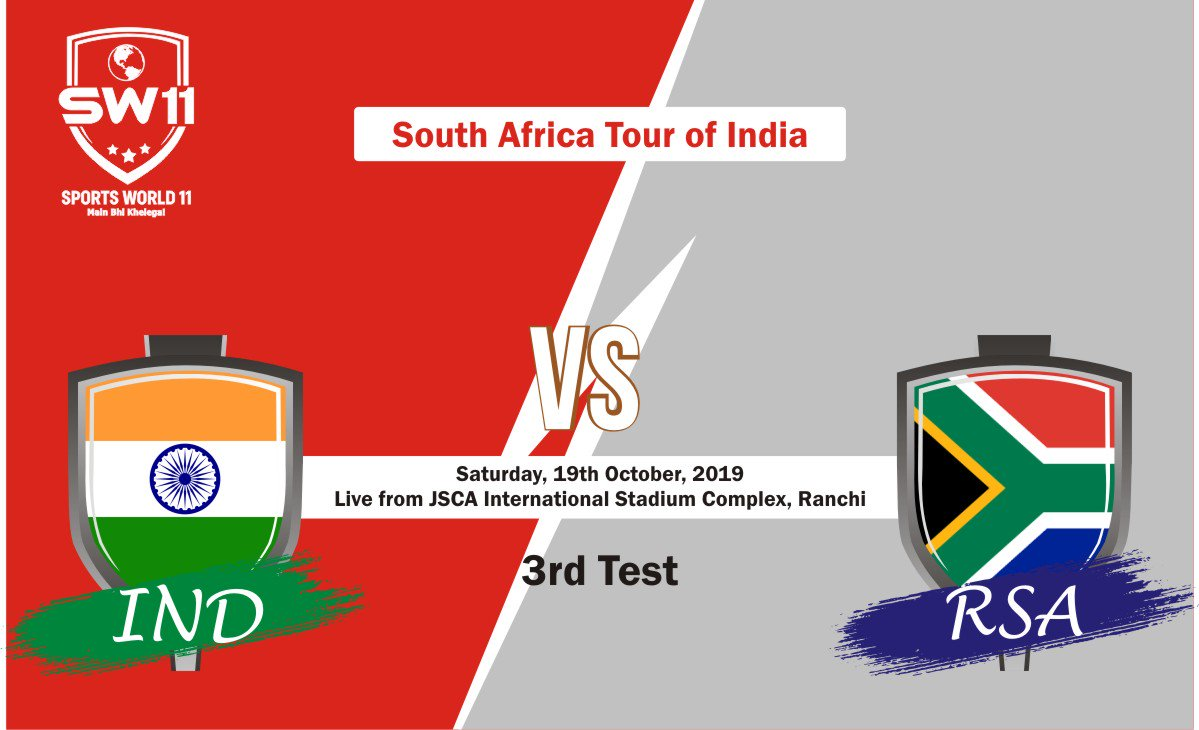 IND vs SA 3rd Test 2019 #INDvsSA Are you ready to witness the battle between South Africa and India? Fasten your seatbelts!! Create Your Team on SPORTS WORLD11