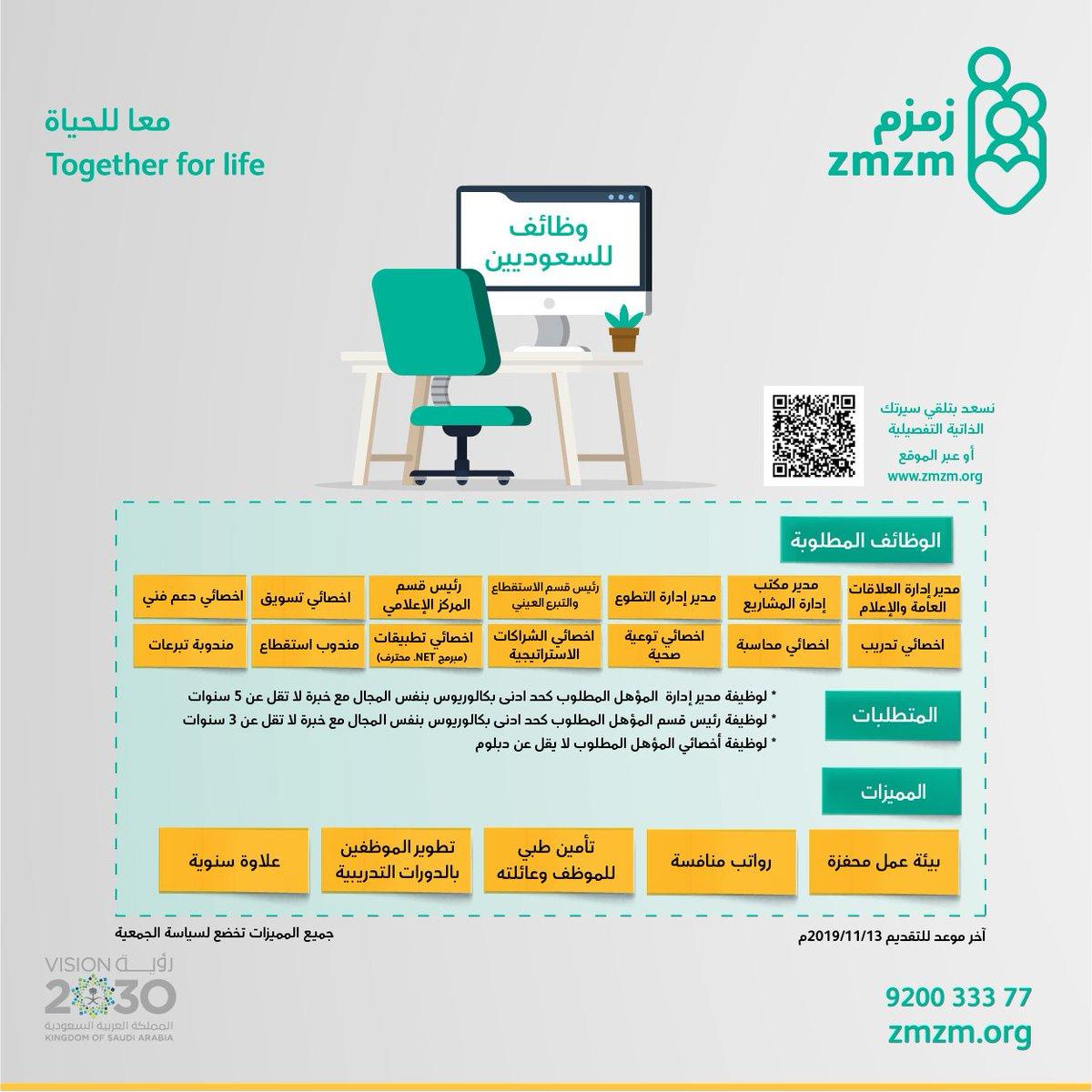 وظائف إدارية متنوعة  للسعوديين في #جمعية_زمزم بجدة   رابط التوظيف : https://forms.office.com/Pages/ResponsePage.aspx?id=ZDJvHRVSak-eSfKIqeFy8bhOQ7AVXs1IuxyyBBdJRPhUOE1LS0VZV0lWMk1KVkZIODNRSjhFRjBQVy4u
