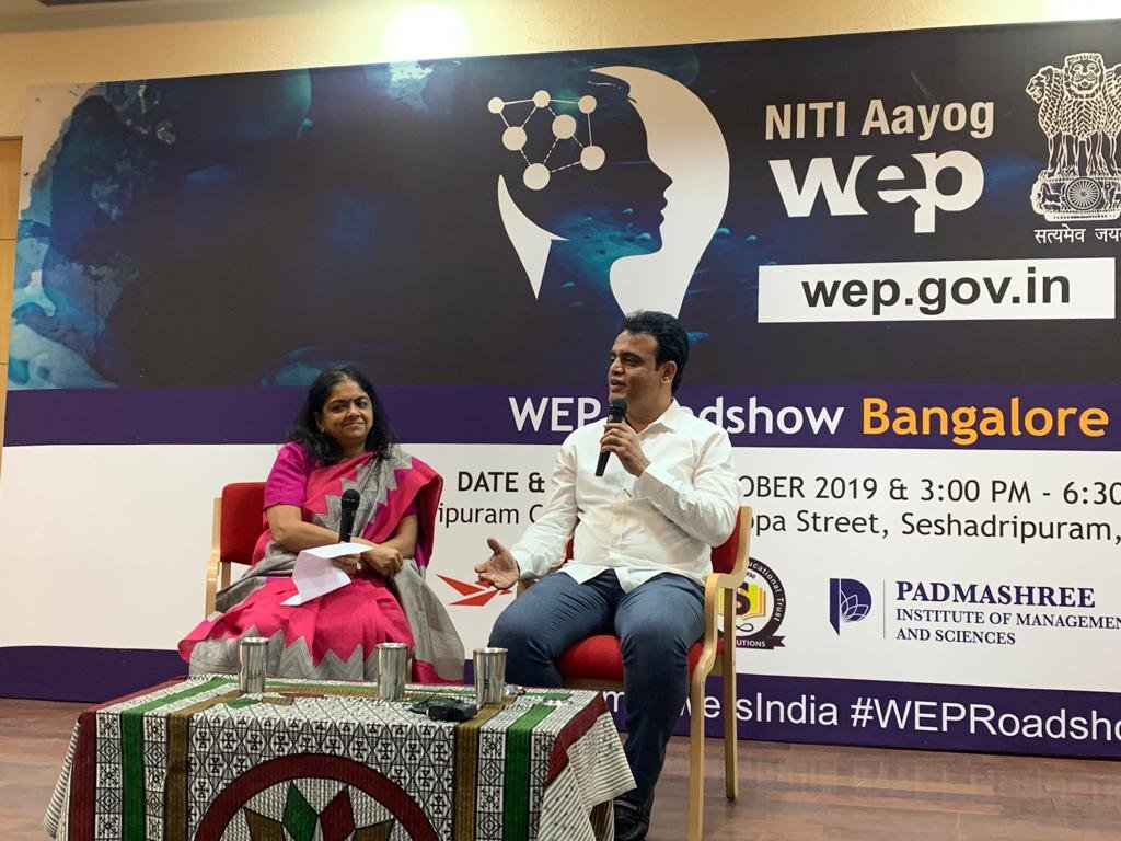 As part of the #WEPRoadShow, #NITIAayog Adviser @annaroy9 & Deputy Chief Minister of Karnataka @drashwathcn were a part of an interactive discussion with the women entrepreneurs of the Garden City. #SheEmpowersIndia