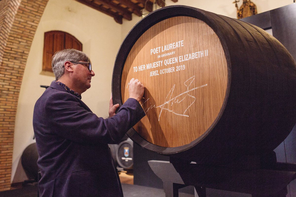 test Twitter Media - New Poet Laureate Simon Armitage has today visited sherry producers of Jerez to choose his gift of a butt (about 720 bottles) of sherry and to sign his barrel. More here https://t.co/6vr2uIu3Km https://t.co/emMNDz7RiY