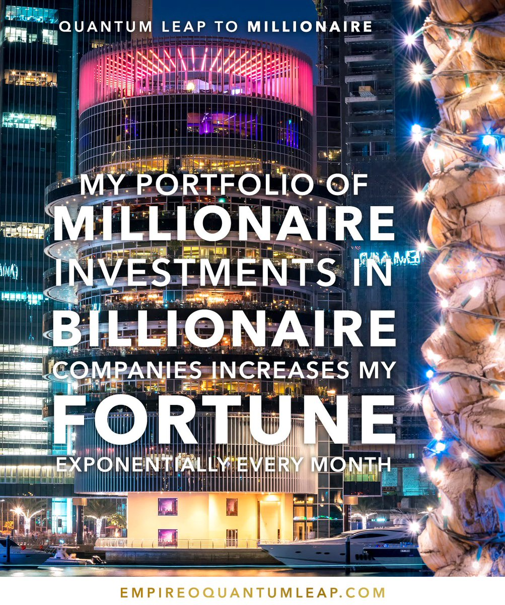 """Your portfolio of MILLIONAIRE investments in BILLIONAIRE companies increases your FORTUNE exponentially every month. 👯🛳️ 📊💵💳📇  """"QUANTUM LEAP TO MILLIONAIRE""""💰💎 ▶️ I want to know more about the program https://t.co/zfXarp0sbB https://t.co/oNhaZUNw20"""