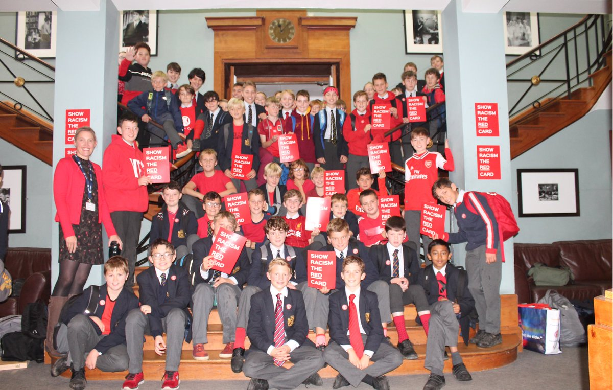 Pupils supporting the 'Show Racism the Red Card' day.  Wearing red items to show support. #showracismtheredcard