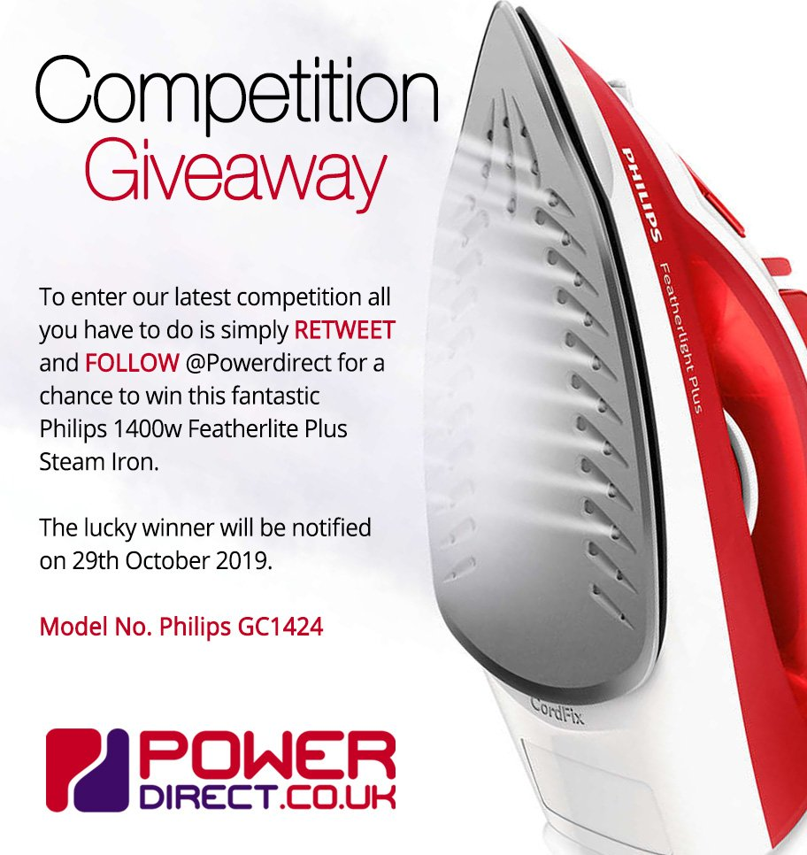 #Free to Enter @PowerDirectUK #Competition #Giveaway... Simply #RT and #Follow for a chance to #Win a Philips Featherlite Plus Steam Iron… #FridayMotivation #FridayFeeling #FreebieFriday<br>http://pic.twitter.com/9n9rZMV0vg