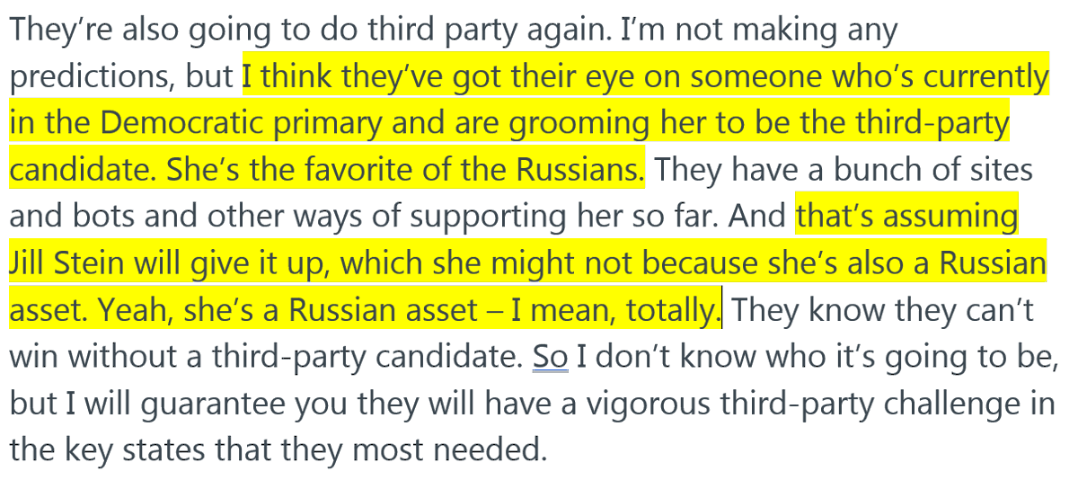 Hillary Clinton doesnt just predict the Russians will support Tulsi Gabbard as a third-party candidate; she also calls Jill Stein a Russian asset -- I mean totally. Full context:
