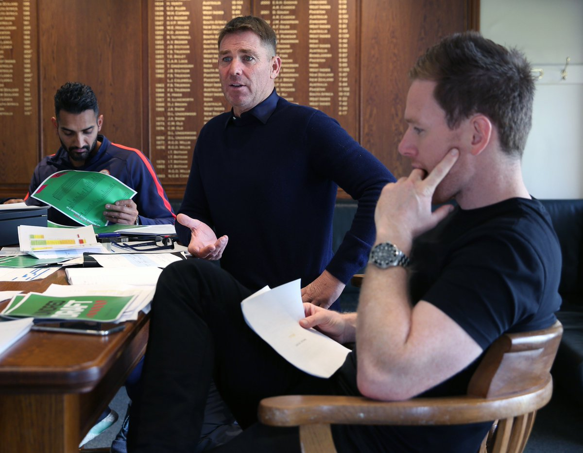London Spirit head coach @ShaneWarne and @Eoin16 were among those at Lord's today prepping for The Hundred's inaugural draft taking place this Sunday.Who will be their first pick?#LoveLords | #TheHundred