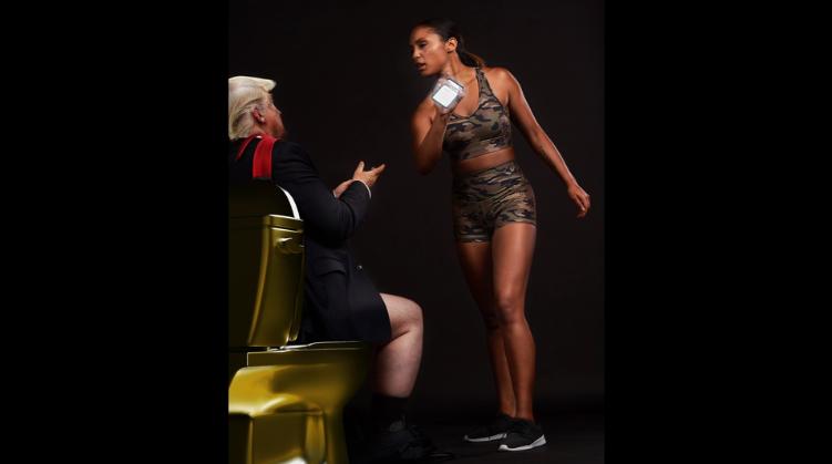 Woman attacking President Trump on toilet